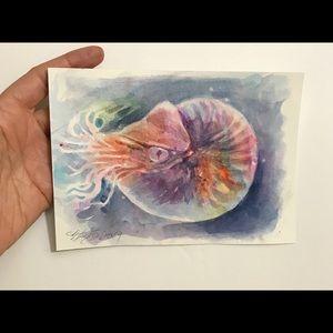 Original painting nautilus Ocean wildlife artwork